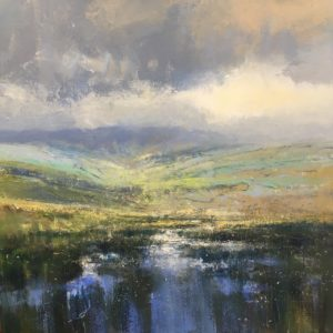 """Clearing rain in the Beacons"" 60x60cm acrylic on canvas £POA"