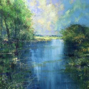 """""""Warm day Stour Valley""""60x60cm in frame 90x90cm acrylic on canvas £POA"""